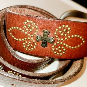 Genuine Fossil Leather Belt Metal Cross & Rivets